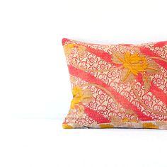 Pillow/ Vintage Kantha Fabric Pillow Boho Pink Floral by jillbent