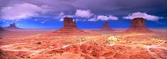 Buttes in a desert, The Mittens, Monument Valley Tribal Park, Monument Valley, Utah, USA