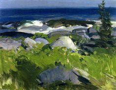 Vine Clad Shore - Monhegan Island, huile sur panneau de George Wesley Bellows (1882-1925, United States)