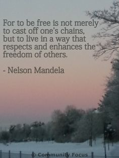 On freedom.. Nelson Mandela. Check out www.facebook.com/communityfocus.int for more inspiration and community action. Human Rights Quotes, The Freedom, Nelson Mandela, Art Quotes, It Cast, Action, Community, Facebook, Check