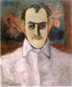 dappledwithshadow:  Milton Avery in a Gray Shirt withThe Chariot Race Milton Avery- circa 1938