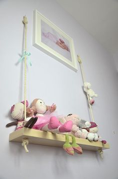 For a little girls room! diy swing shelf