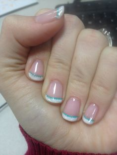 Love DIY gel nails! french tip w/ tiffany dotted line :)