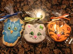 Daniel Tiger's Neighborhood Birthday Party. Custom character cookies. O the Owl, Katerina Kittycat, Daniel Tiger purchased from Cookie Cheers. Second time using this baker (used last year for daughters Sesame Street themed party). Amazing vendor