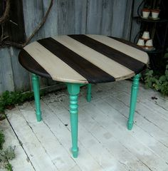 black and white striped table, teal legs, distressed furniture DIY by NineRed totally for my future craft room when I have a house!