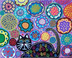 Kerri Ambrosino Art PRINT mexikanischer Volkskunst schwarze Katze in den Garten-Lavendel-Blüten