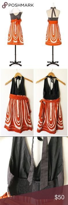 Anthropologie Maeve Pele Glow Halter Dress Orange Excellent preowned condition. A smoky grey bodice and a swirl-striped skirt of fiery orange create a smoldering poplin frock. Anthropologie Dresses