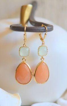 Orange and Light Mint Dangle Teadrop Earrings in Gold