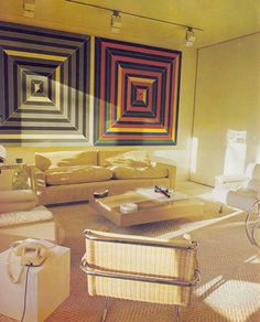 The House Book, Terence Conran, 1974 Frank Stella paintings Vintage Interior Design, Vintage Interiors, Interior Design Inspiration, Home Interior Design, Interior And Exterior, Interior Decorating, 1970s Decor, Retro Home, Living Room Interior