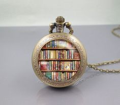 Bookshelf Pocket Watch Locket Necklace