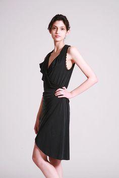 Black Wrap Dress, Sexy Black Dress, Little Black Dress, Sleeveless Summer Dress, Knee Length Dress By Dragonflyhm