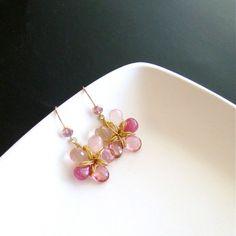 Pink Sapphire Pink Topaz Rose Quartz Flower Earrings - Linnea Earrings