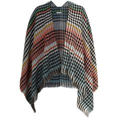 Maje Emilie Houndstooth Tassel Poncho ($125) ❤ liked on Polyvore featuring outerwear, maje, style poncho, patterned poncho, maje poncho and wrap poncho