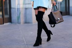 Black Over the Knee Boots Laced Back High Heels