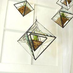 Nested Beveled Glass Pyramid Air Plant planter