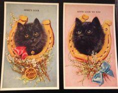 Lot of 2 Valentine's Lucky Black Cat Horshoe Gook Luck Vintage Old Postcard IA | eBay