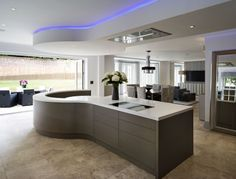 An impressive contemporary bespoke kitchen design from Esher Surrey with wow factor in the design. Open Plan Kitchen Diner, Open Plan Kitchen Living Room, Home Decor Kitchen, Kitchen Island, Bespoke Kitchens, Luxury Kitchens, Luxury Kitchen Design, Interior Design Kitchen, Kitchen Seating