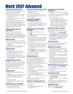 Microsoft Word 2007 Advanced Quick Reference Guide (Cheat Sheet of Instructions, Tips Shortcuts - Laminated Card)