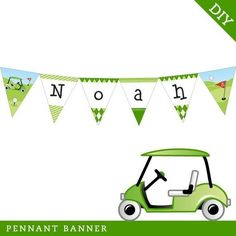 Golf party  Personalized DIY printable pennant banner by Chickabug, $15.00