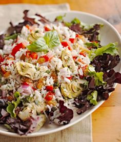 Italian rice salad Nothing celebrates the season like a crunchy, colorful menu full of fresh produce: strawberry spinach salad, Asian noodle slaw, broccoli grape salad and more.