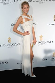 toni garrn in elie saab at the de grisogono party at cannes. #redcarpet