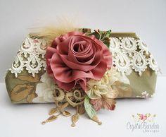 VINTAGE/Shabby chic Clutch Bag Purse SILK by CrystalGardenDesign, £37.50