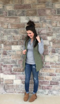 cabi vest and grey t