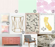Love This Crazy Life // Vivienne's room inspiration (nursery, big girl room, pink, gold, grey, coral, mint)