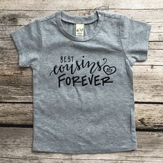 These adorable t-shirts are so perfect the favorite cousins life!! This amazing graphic is hand pressed on a heather grey t-shirt or bodysuit. Available as a t-shirt in sizes 6 Month-Adult or as a bod