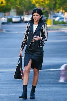 Kylie Jenner - studded leather looking outfit