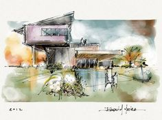 Hand-Drawing-In-Architecture drawings-sketches mimari, tasar Perspective Architecture, Architecture Tumblr, Architecture Design, Architecture Drawings, Landscape Architecture, Residential Architecture, Concept Art Landscape, Landscape Design, Sketches Arquitectura