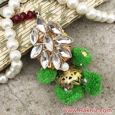 Beautifully Designed Drop Crystal Lumba for Bhabhi Buy Rakhi Online, Rakhi Design, Diwali Decorations, Online Gifts, Drop Earrings, Silk, Crystals, Unique, Beauty