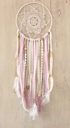 Pink and Gold Dream Catcher Pink Dreamcatcher by ShopWildCotton