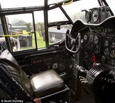 a glimpse inside the cockpit of the Lancaster