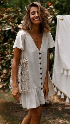 SingleBreasted Deep VNeck Cotton And Linen Dress is part of Summer outfits - Daily Life Style Casual Gender Women Product no 20190225 Please Note All dimensions are measured manually with a deviation of 1 to Look Fashion, Spring Fashion, Fashion Outfits, Womens Fashion, Teen Fashion, Dress Fashion, Fashion Clothes, Fashion Hacks, Classy Fashion