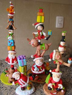 various adorable Christmas characters stacked on top of one another
