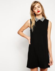 ASOS Shift Dress with Animal Collar in Texture