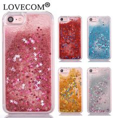 Glitter Stars Dynamic Liquid Quicksand Hard Case Cover For iPhone 7 For iPhone 6 6S 7 Plus Transparent Clear Phone Case Coque