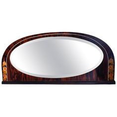 Art Deco Inlaid Macassar Ebony Overmantel Mirror | From a unique collection of antique and modern mantel mirrors and fireplace mirrors at https://www.1stdibs.com/furniture/mirrors/mantel-mirrors-fireplace-mirrors/
