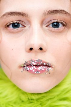 """Lucy Burt used MAC to create dewy skin and """"after-party"""" glitter lips at the Shrimps show."""