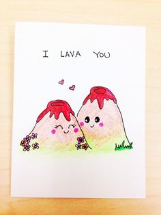 I lava you funny love card, disney pixar short, lava pun card, quirky love card, funny anniversary card by LoveNCreativity