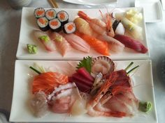 Shinobu (3404 Yonge St., Toronto, ON): I ordered the 'Supreme Assorted Sushi' (top plate) and my hubby had the 'Supreme Assorted Sashimi' (bottom plate).  The fish was very fresh.  It was nice to eat sushi and sashimi that wasn't water logged or somewhat frozen. It was a very enjoyable meal.  We will be coming back to this restaurant.