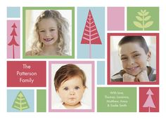 "Patchwork Christmas Tree - PAPYRUS Cards - Photo Christmas Card. In candy-colors with trees of all shapes and sizes, this Christmas card sends bright holiday wishes. Customize it with three personal photos to send season's greetings. 7"" x 5"" Flat Card. Price: $2.19"
