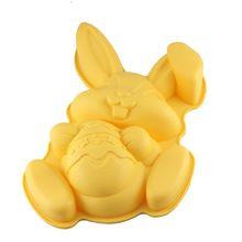 Venda quente coelho da páscoa abraço Egg forma Silicone Mold bolo de pastelaria…