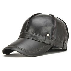 Mens Unisex Genuine Leather Warm Baseball Cap With Ears Flaps Thick Trucker  Hat - Banggood Mobile 5ed5ac31ccb2