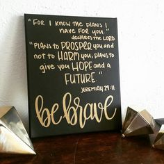 Be Brave Sign - Canvas Scripture Art - Black and Gold Decor - Quote Sign - Bible Verse Wall Art