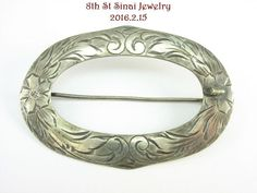 Estate Sterling Silver 925 Art Nouveau Large Oval Hand Etched Pin Brooch #Unbranded