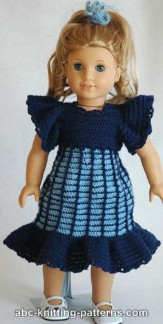A great gift for the holidays or any time of year is an American Girl Doll Empire Waist Dress with Ruffles. It's always so fun and creative when you can dress your American Girl Doll in different outfits. American Girl Crochet, American Girl Dress, American Doll Clothes, Ag Doll Clothes, American Girls, Crochet Doll Dress, Crochet Doll Clothes, Crochet Doll Pattern, Doll Dress Patterns