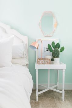 Bedroom Bleu 5 Steps To A Beautiful Bedroom Mckenna Bleu Abi pertaining to dimensions 1333 X 2000 Mint Blue Bedroom Decor - Blue is one of the practically Pastel Bedroom, Gold Bedroom, Bedroom Green, Bedroom Colors, Home Decor Bedroom, Bedroom Ideas, Pastel Walls, Mint Green Bedrooms, Mint Bedroom Walls