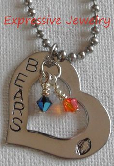 Football Heart Charm/Necklace or Keychain (Chicago Bears)